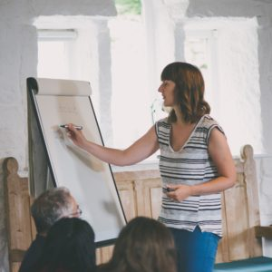 Writing course tutor delivering a workshop at Lumb Bank